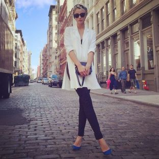 Striking a pose on the cobbled streets of Soho